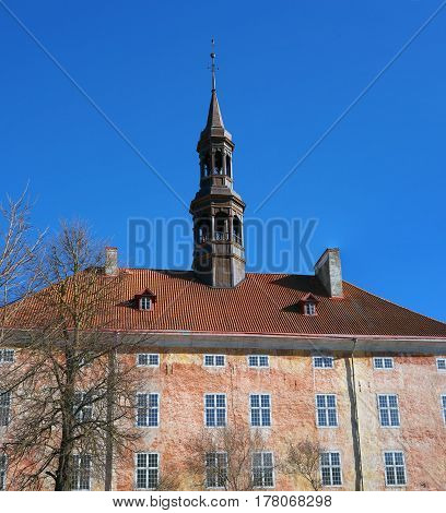 Narva. Estonia. Old Town Hall Building and Square. It was built on the initiative of the Swedish royal court in the 17th century.