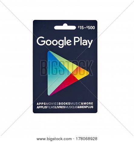 MONTREAL CANADA - MARCH 10 2017 : Google Play popular giftcard. The card is a prepaid stored-value money card issued to be used as an alternative to cash for purchases on Google Play.