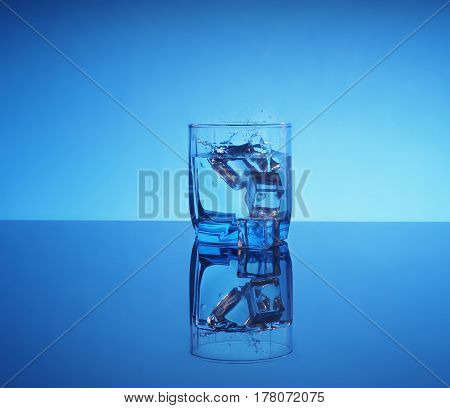 Glass Of Mineral Clear Water With Ice