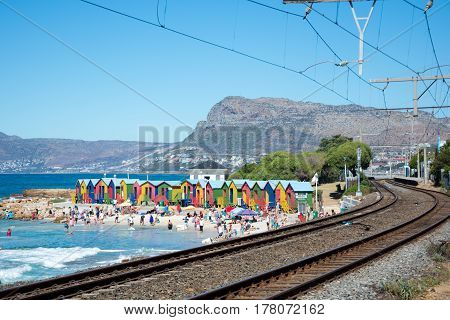 Brightly Painted Beach Huts At St James Beach, Cape Town