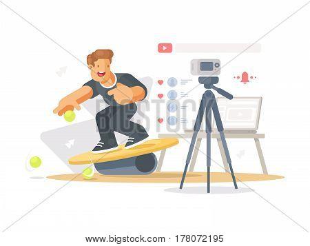 Blogger makes video clip. Guy shoots himself camera. Vector illustration