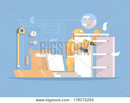 Collector of furniture. Man collects new wooden shelves. Vector illustration