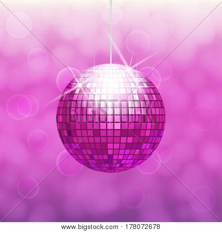 Pink disco ball for dance party isolated on gradient background with light cloudy circles like bokeh effect