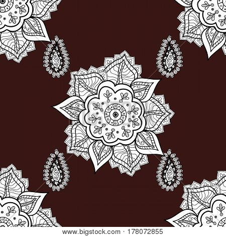 Traditional classic vector white seamless pattern. White elements on brown background. Seamless oriental ornament in the style of baroque.