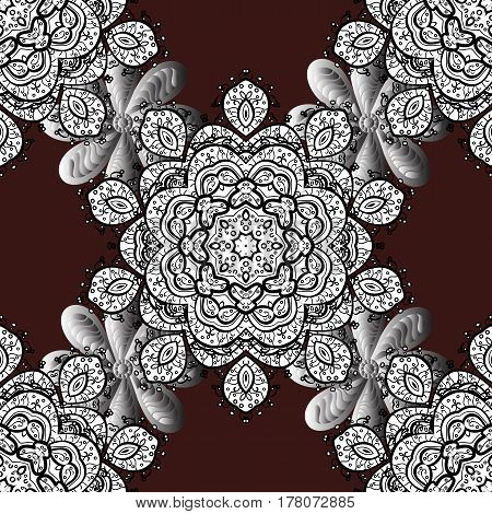 Damask seamless pattern for design. Vector seamless pattern on brown background with white elements.