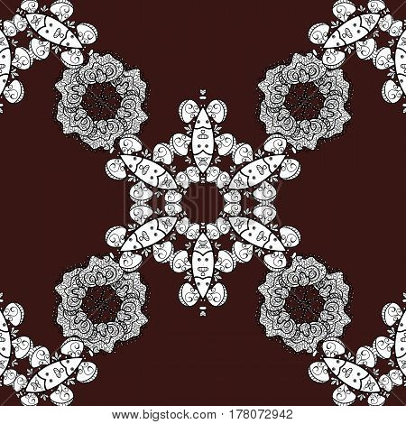Seamless pattern on brown background with white elements. Seamless white pattern. Vector oriental ornament.