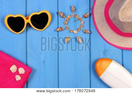 Seashells In Shape Of Sun And Accessories For Summer And Vacation, Copy Space For Text