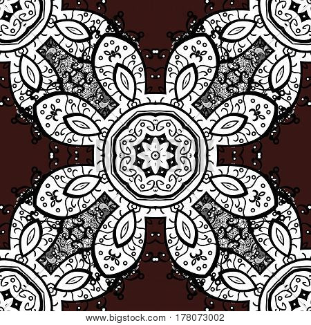 Seamless vector background. Stylish graphic pattern. Sketch baroque damask. Floral pattern. White elements on brown background.