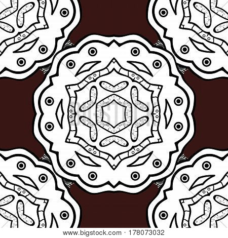 Brown background with gray elements. Seamless white textured curls. Vector white pattern. Oriental style arabesques. Vector illustration.