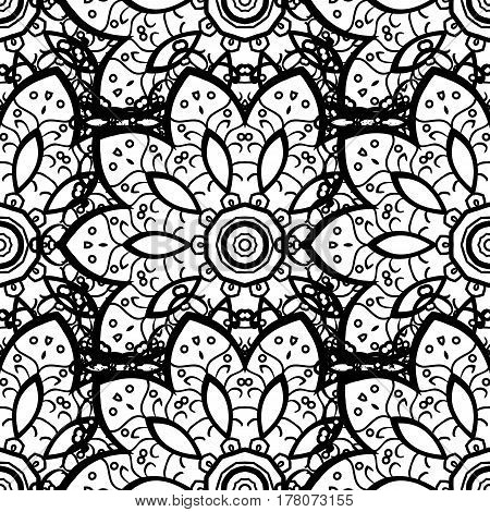 Vector gray pattern. Seamless textured curls. Oriental style arabesques gray pattern on a background with gray elements.