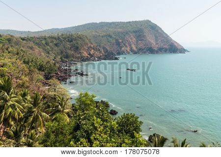Coastline in Goa India on a sunny day