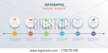 Business infographics template 6 data with circle. Can be used for workflow layout diagram number options web design presentations