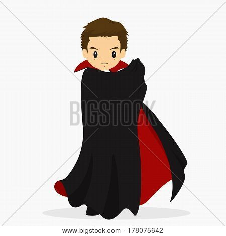 a boy wearing dracula costume for Halloween party.