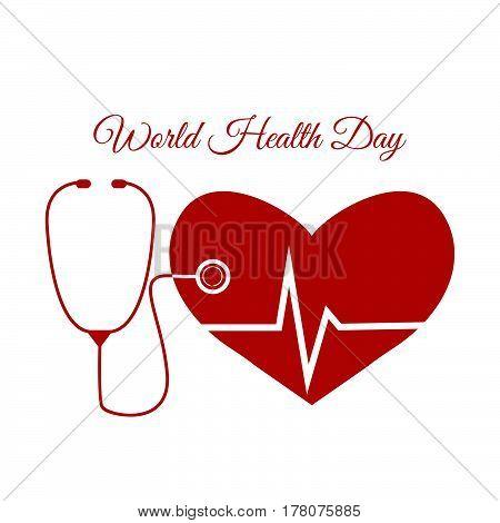 Red Design World Health Day Vector Illustration Eps 10