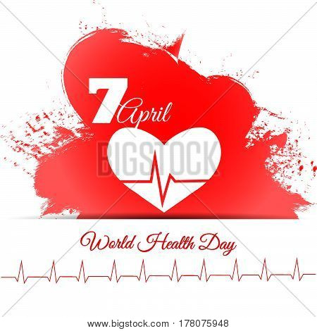 World Health Day Dirt Red Water Colour Design Vector Illustration Eps 10