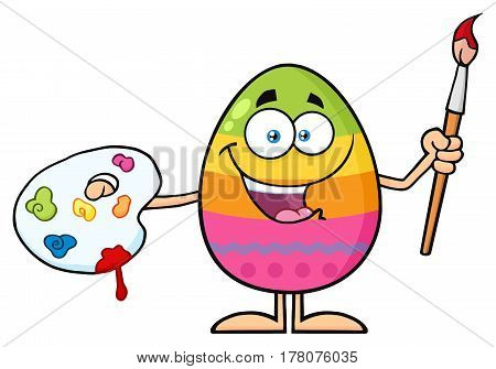 Happy Colored Easter Egg Cartoon Mascot Character Holding A Paintbrush And Palette. Illustration Isolated On White Background