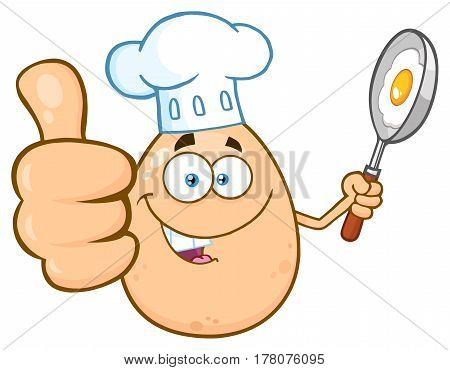Chef Egg Cartoon Mascot Character Showing Thumbs Up And Holding A Frying Pan With Food. Illustration Isolated On White Background