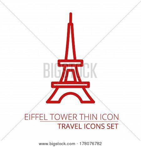 Paris Tower icon thin line for web and mobile, modern minimalistic flat design. Part of travel icons set