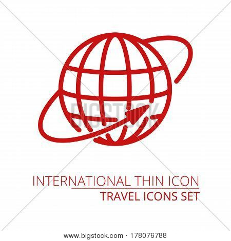 Planet Earth globe - icon isolated on white Part of travel icons set