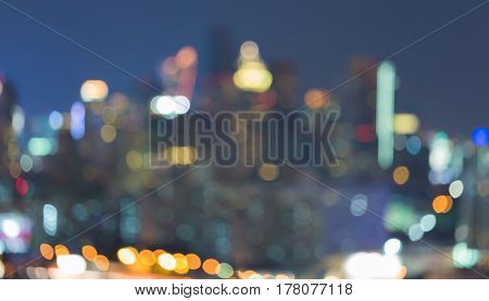 Night blurred bokeh city light downtown abstract background