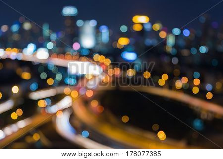 Night blurred light aerial view city road interchanged abstract background