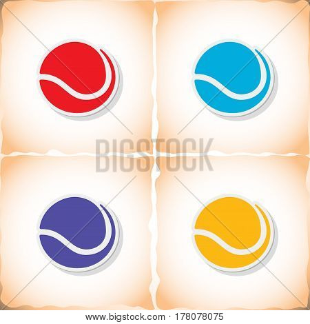 Tennis ball. Flat sticker with shadow on old paper. Vector illustration