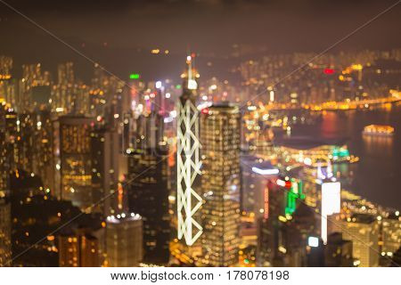 City of Hong Kong blurred bokeh light aerial view abstract background