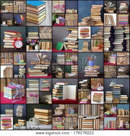 Collage from pictures with books. Background from books. Books close up. Books on the shelf. Still life with books.