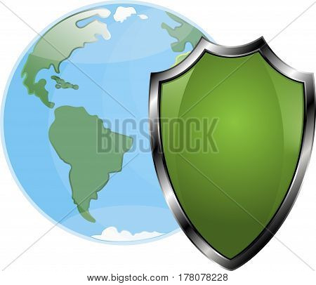 Shield shielding the globe, vector, white background, ecology protection