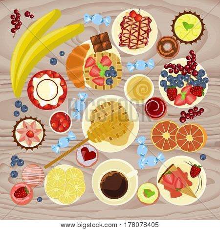 Sweet menu for cofee break, breakfast, lunch or dinner. Top view Vector illustration eps 10