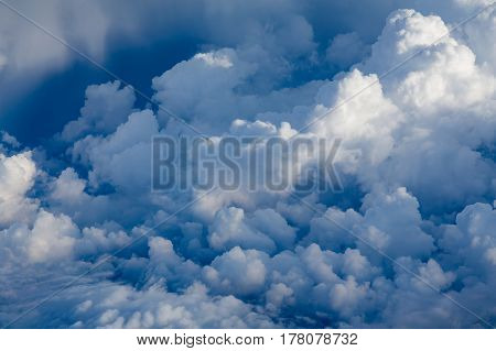 Blue sky and white clouds over the air natural landscape background