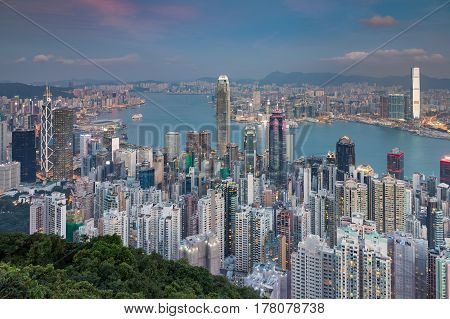 Hong Kong city aerial view from the Peak cityscape downtown background