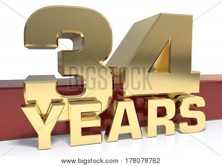 Golden digit thirty four and the word of the year. 3D illustration