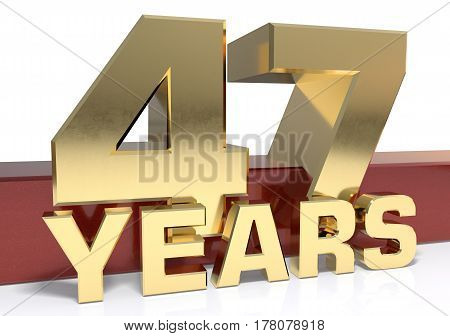 Golden digit forty seven and the word of the year. 3D illustration