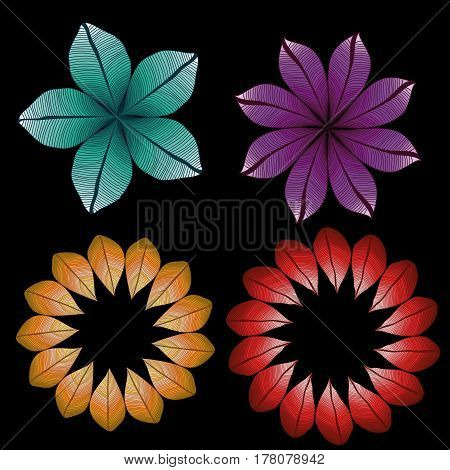 Vector set of vector leaves. Colored degrade natural ornament. Foliage