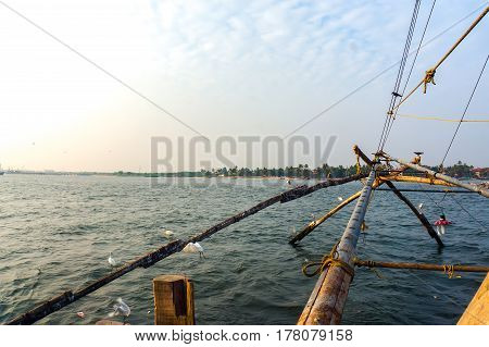 Fishing Net Based On Ancient Technology And Traditional Materials, Ropes And Stones.