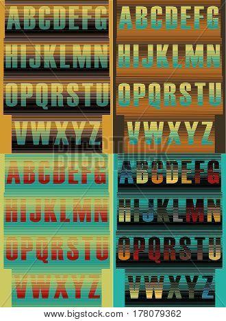Striped artistic alphabets. Unusual font. Striped background. illustration