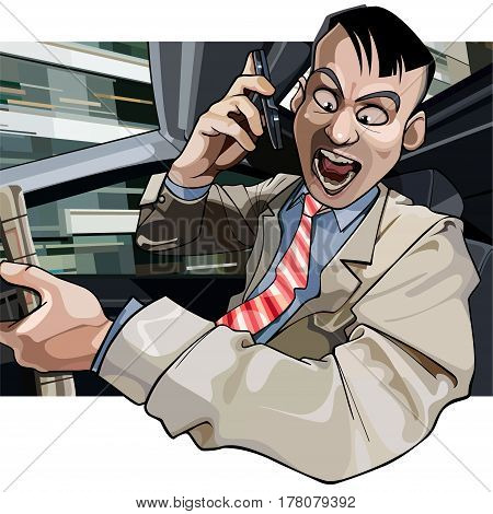 cartoon man driving aggressively yells into the phone