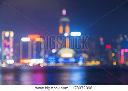 Hong Kong night blurred bokeh light abstract background