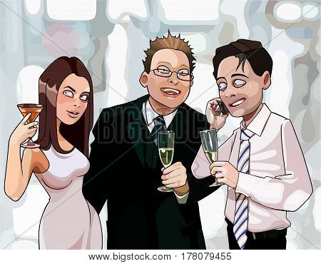 cartoon men and woman drink at corporate