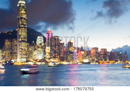 Abstract blurred bokeh light Hong Kong city downtown sea front abstract background