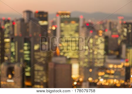 Abstract blurred bokeh office building light Osaka business downtown abstract background