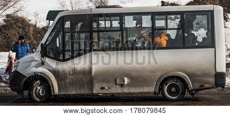 Kazakhstan, Ust-Kamenogorsk, march 12, 2017: Shuttle bus at the bus stop, public transport, mini bus