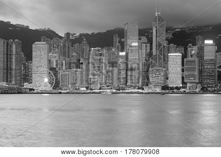 Black and White Office building sea front Hong Kong cityscape downtown background