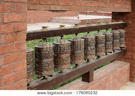The prayer wheels of buddhists close up