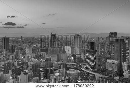 Black and White City of Osaka business downtown Japan