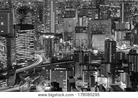 Back and White Osaka central business downtown light night view Japan