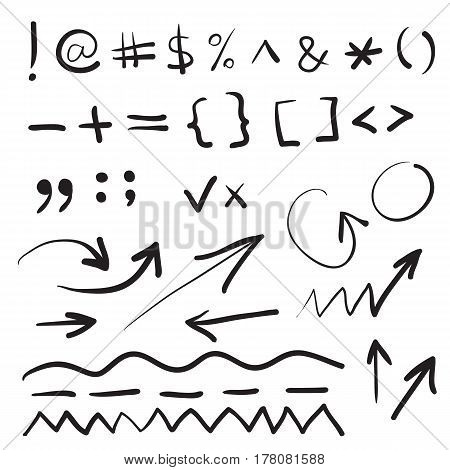 Hand written marker pen vector signs, symbols and shapes. Highlight hand drawn arrows, lines isolated on white background