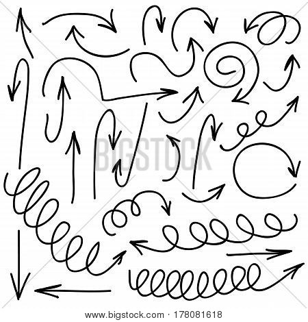 Hand written marker pen vector arrows of different shape. Highlight hand drawn arrows, lines isolated on white background