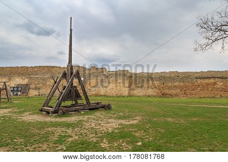 Old ottoman catapult inside the fort of akkerman